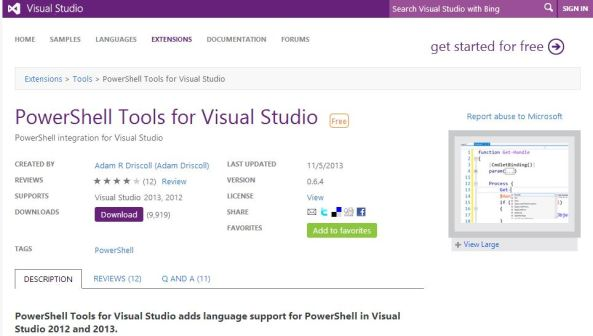 PowerShell Tools for Visual Studio