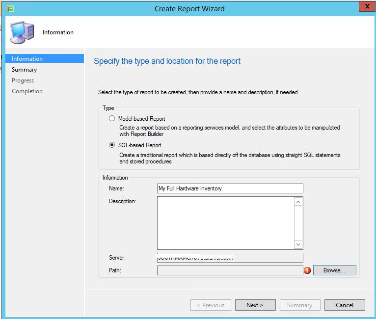 sccm 2012 building custom reports